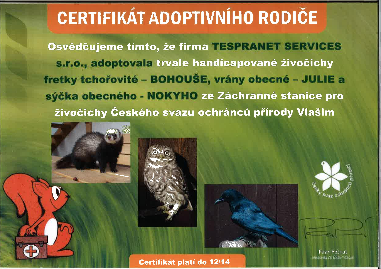 Certifikát adoptivního rodiče